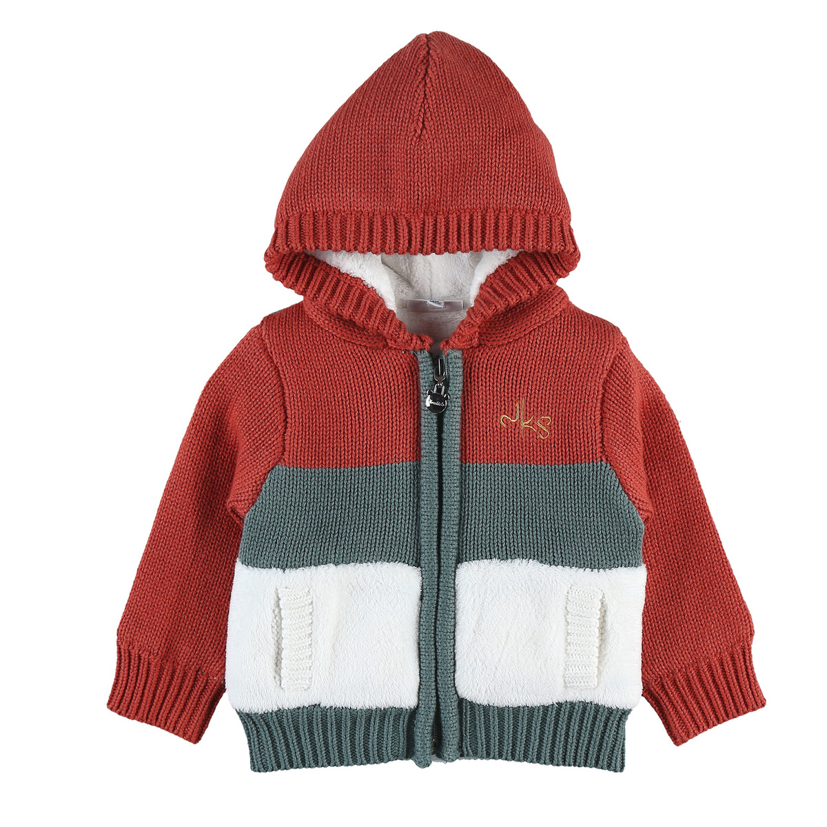 Multicolour Tricoloudoux zipped hoodie jacket