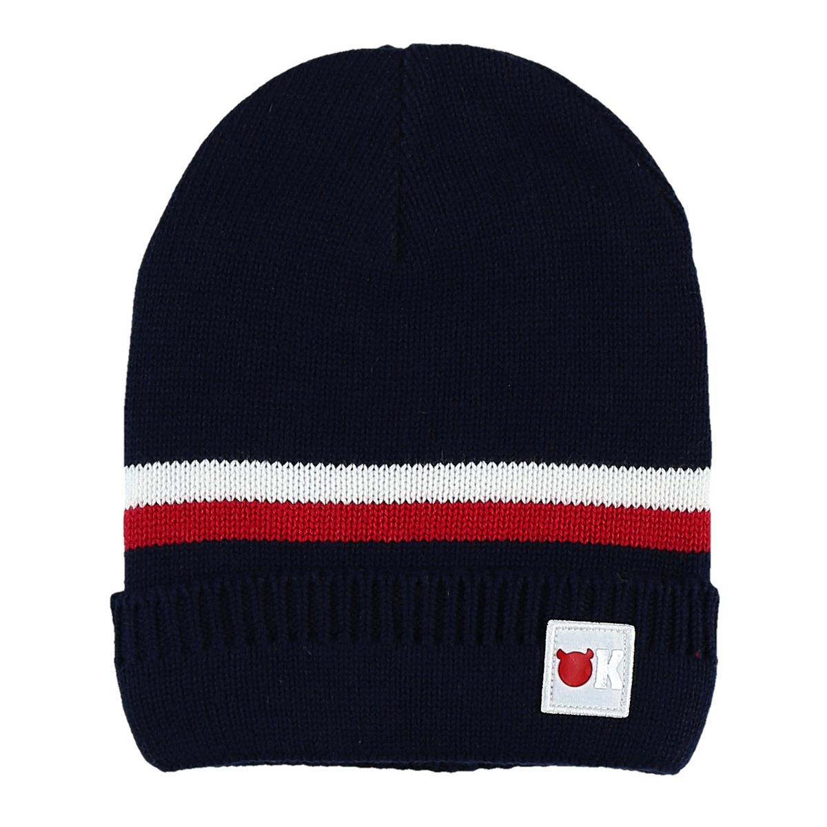 Knitted navy blue beanie