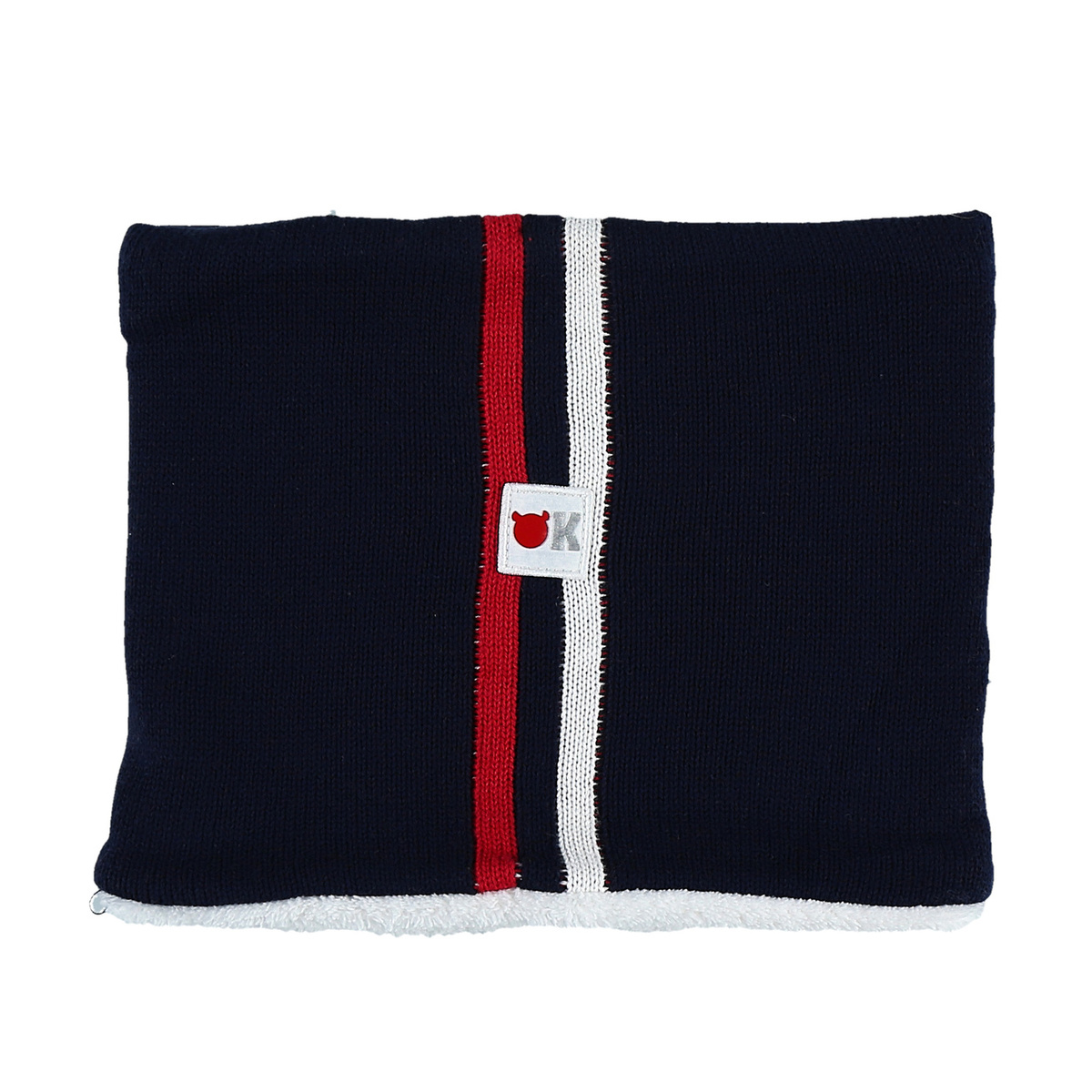 Knitted navy blue tube scarf