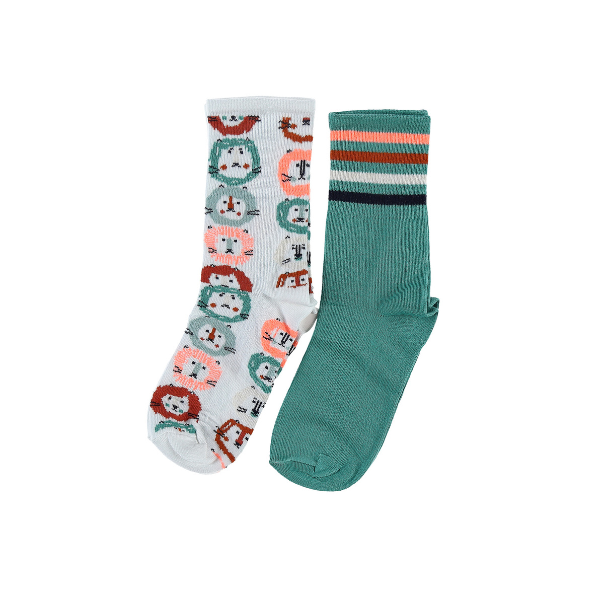 Set of 2 pairs of socks with green and lion print