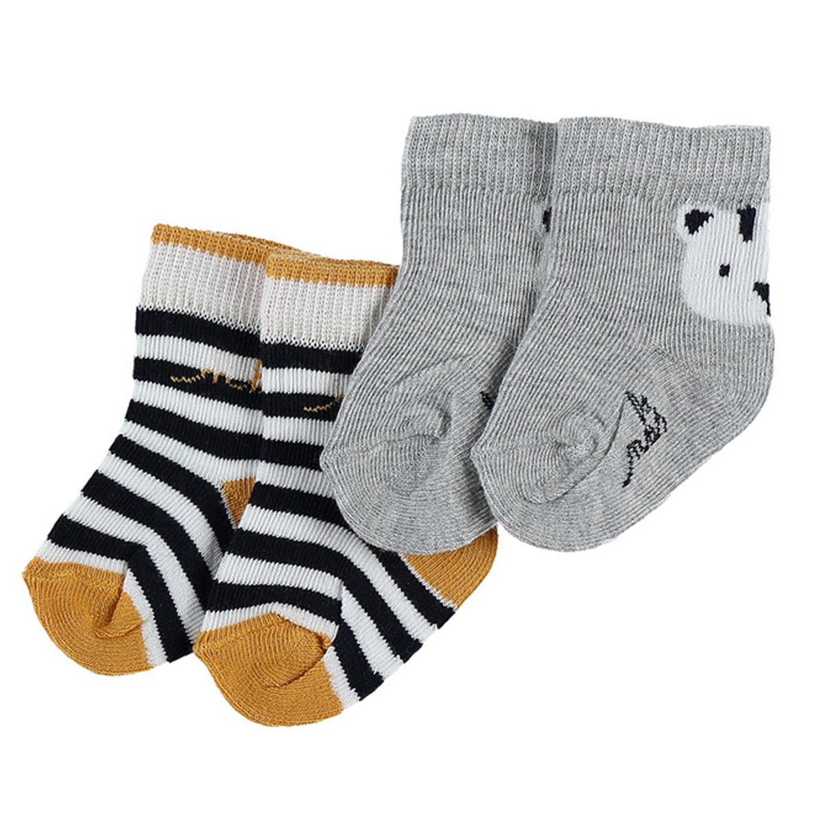 Set of 2 pairs of socks - Striped & grey