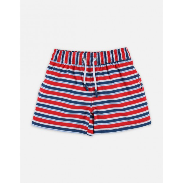 Maillot short Rayé Rouge