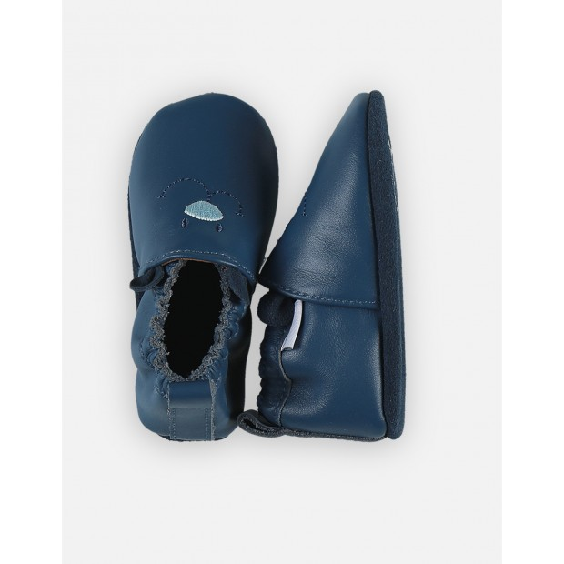 Nouky blue ocean leather babyshoes with elastics