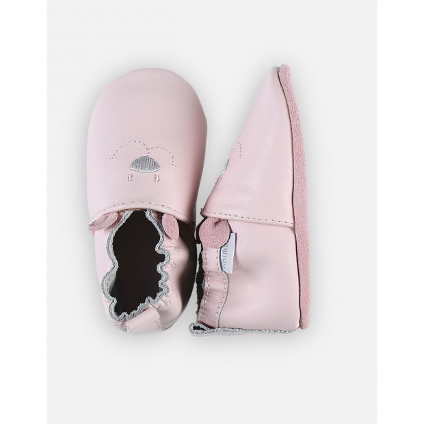 Nouky pale pink leather babyshoes with elastics