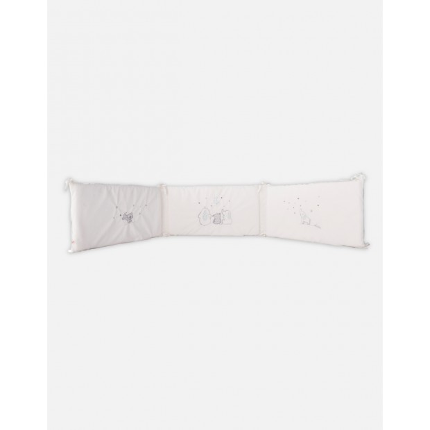 Ecru and starry grey Veloudoux bed bumper from the Anna & Milo collection