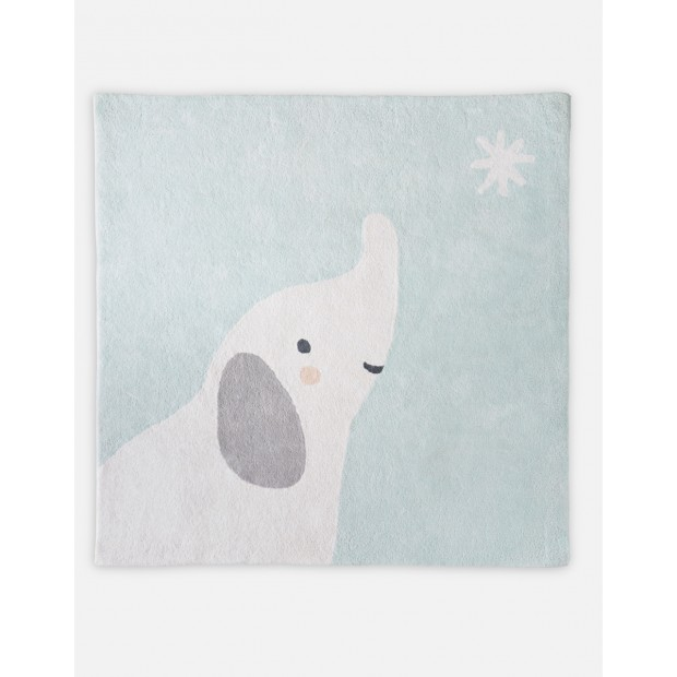 Pale green organic cotton Anna square rug from the Anna & Milo collection