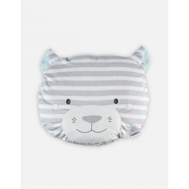 Striped light grey Veloudoux Milo pillow with removable case from the Anna & Milo collection
