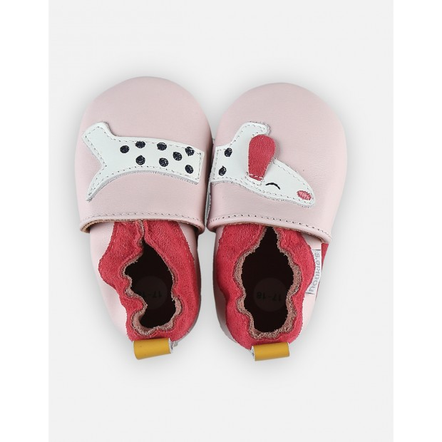 Slippers Leather Pink Dog