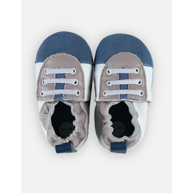 Slippers Leather Bleu & Grey