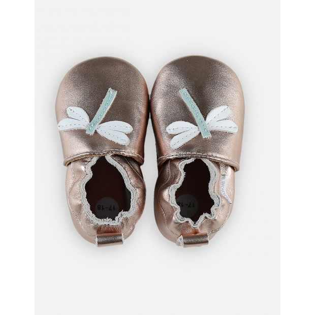 Slippers Dragonfly Leather Pink