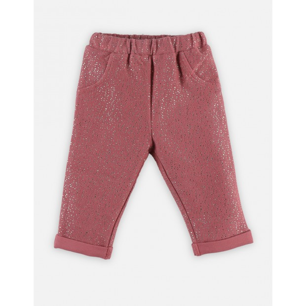 Pink spunge trousers with golden lurex