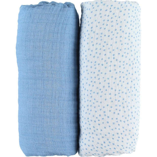 Set de 2 draps housses bleu glacier en mousseline bio 70x140cm collection Aston & Jack