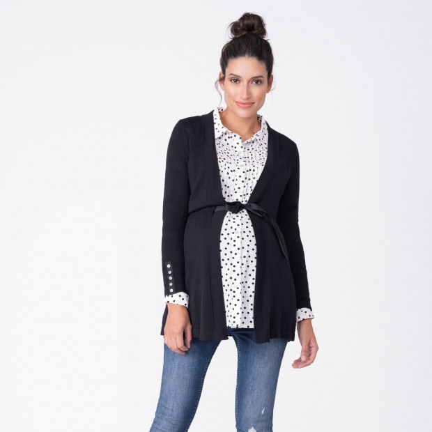 Seraphine Black Empire Belt Maternity Cardigan
