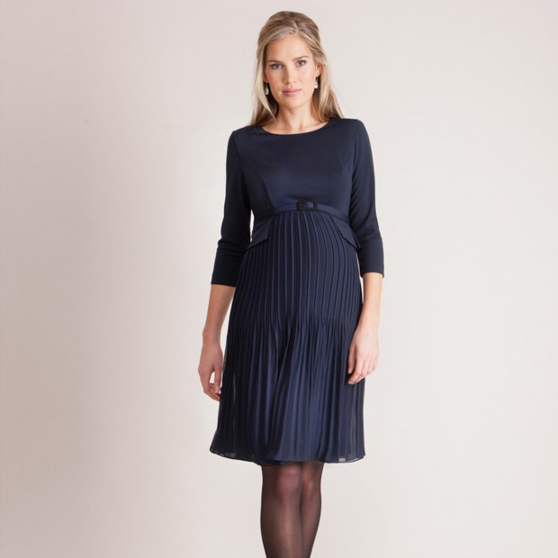 Seraphine Navy Blue Pleated Maternity Dress