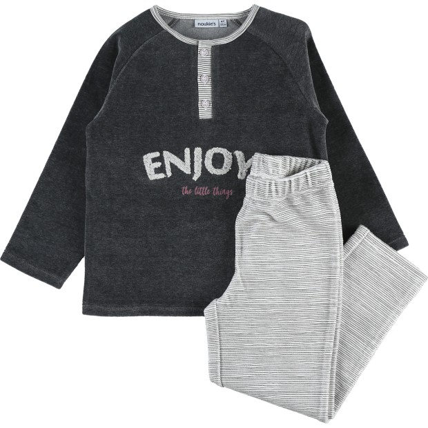 2 Pcs pajamas Graphic Velvet Grey
