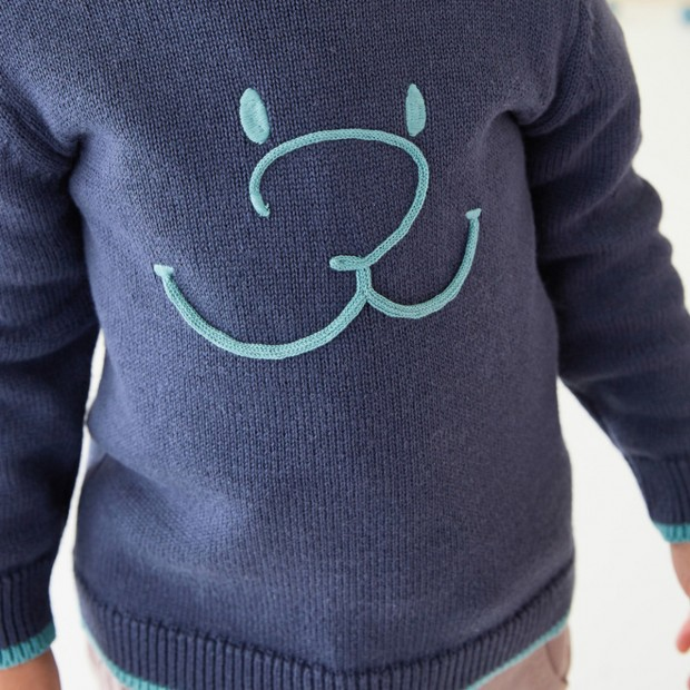 Pull tricot marine col rond smile