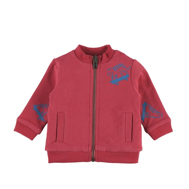 Jacket Zipped Cotton Red