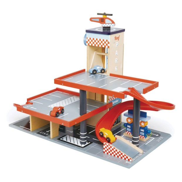 Wooden garage and gas station