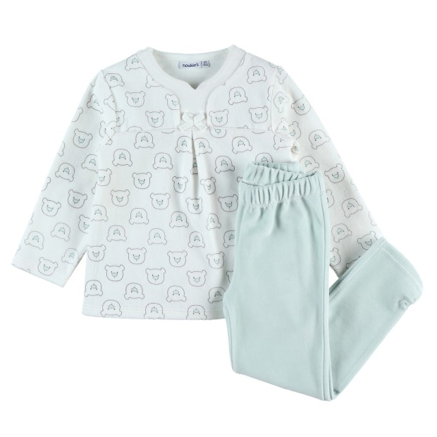 Aqua and ecru velvet 2-piece pajamas