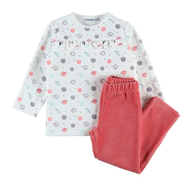 Velvet 2-piece pajamas with pink and planet pattern