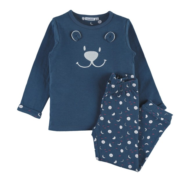 Blue jersey 2-piece pajamas