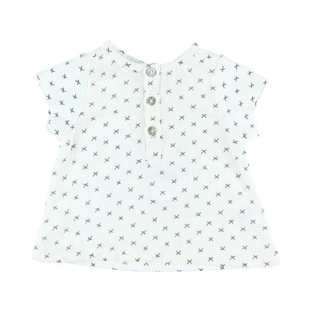 Crepe and jersey shirt with a pattern