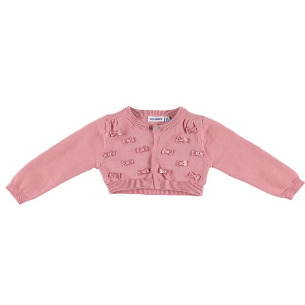 Short knitted cardigan with bows