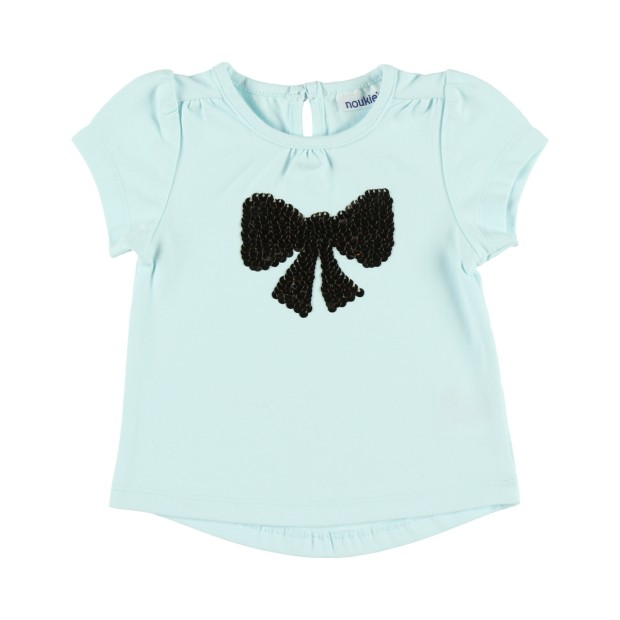 Jersey T-shirt with sequin bow