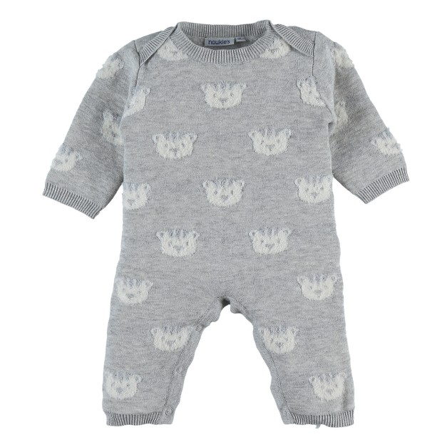 Knitted heather grey tiger suit