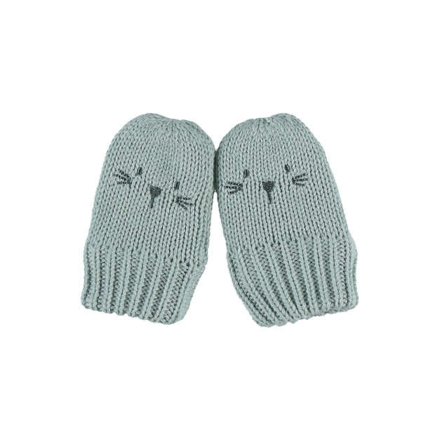Knitted aqua mittens with Groloudoux lining