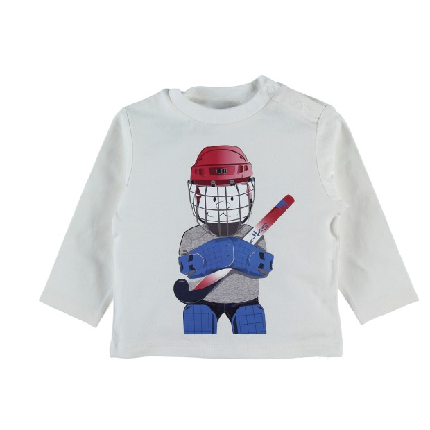 Long sleeve ecru t-shirt with hockey Nouky