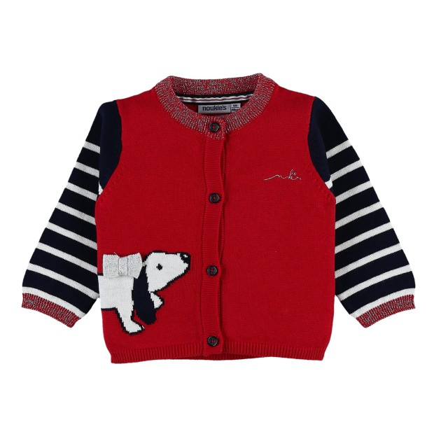 Striped red dog cardigan