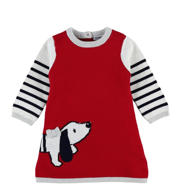 Knitted red and navy blue dog dress