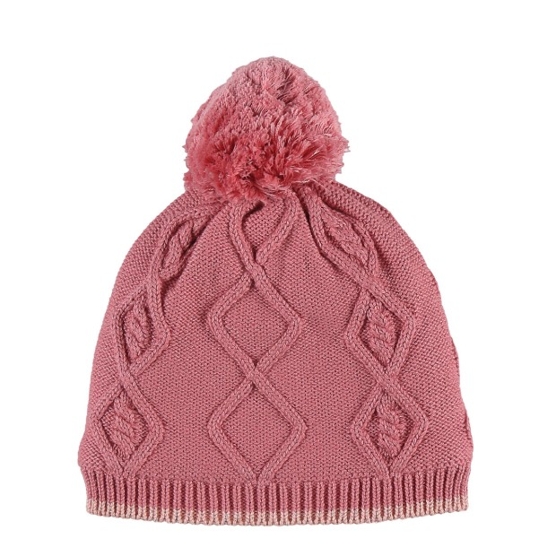 Knitted pink beanie with a pompom