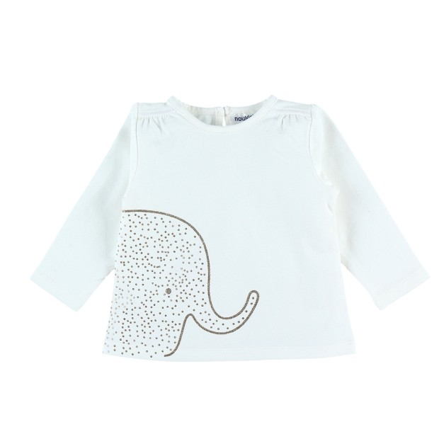 Long sleeved ecru T-shirt with elephant glitter