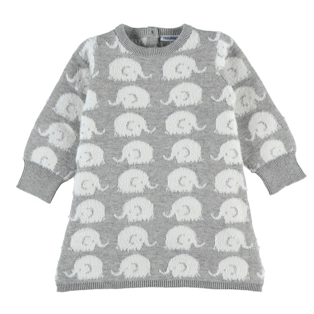 Grey jacquard progressive elephant dress