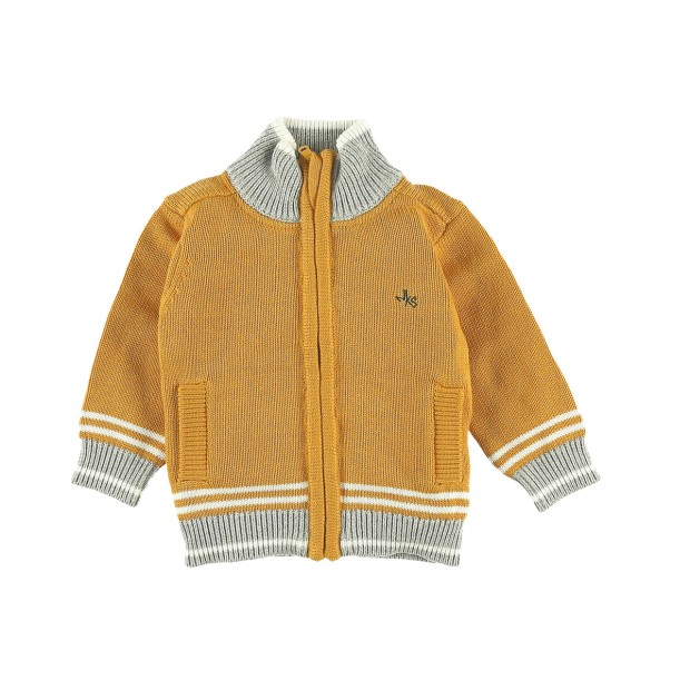 Yellow fleece zipped cardigan