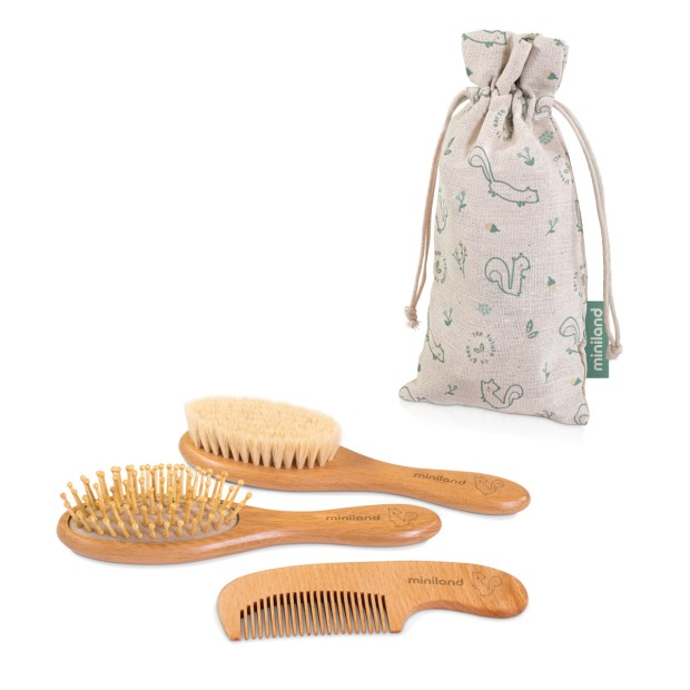 Set of 2 brushes and 1 wooden comb