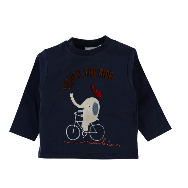 Long sleeve navy blue elephant t-shirt