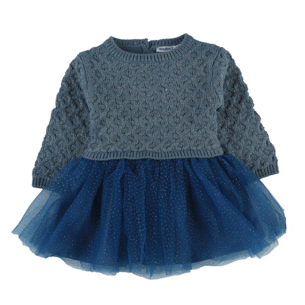 Knit and tulle blue dress