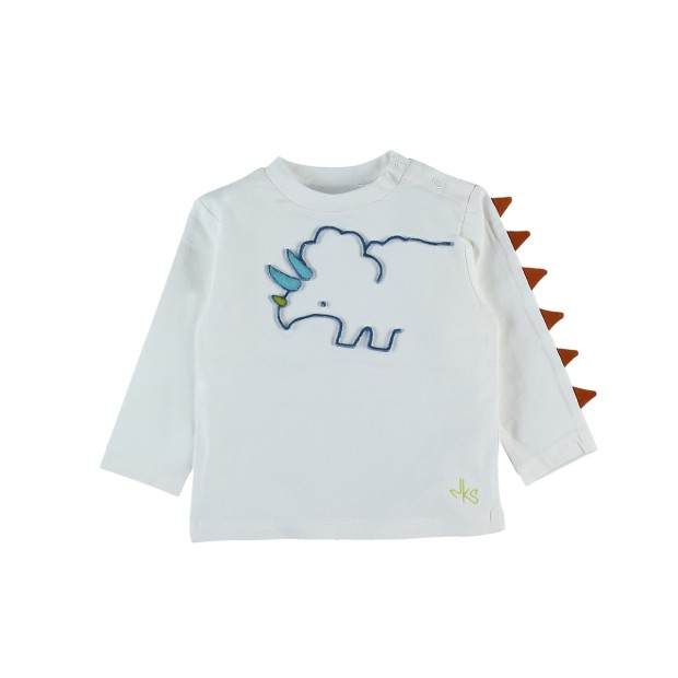 Long sleeve ecru dinosaure t-shirt