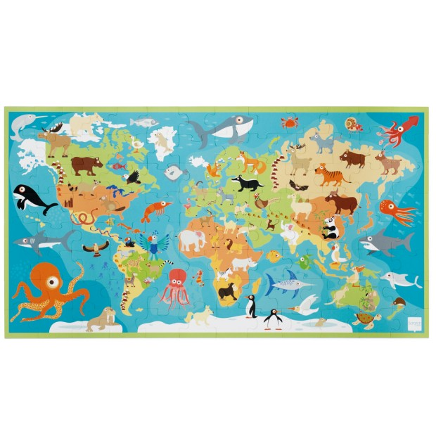 Puzzle 100 pieces, Animals of the world