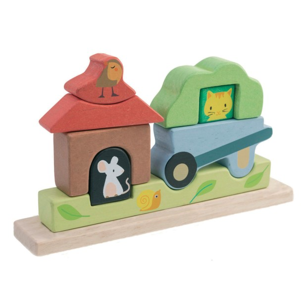 Magnetic wooden puzzle