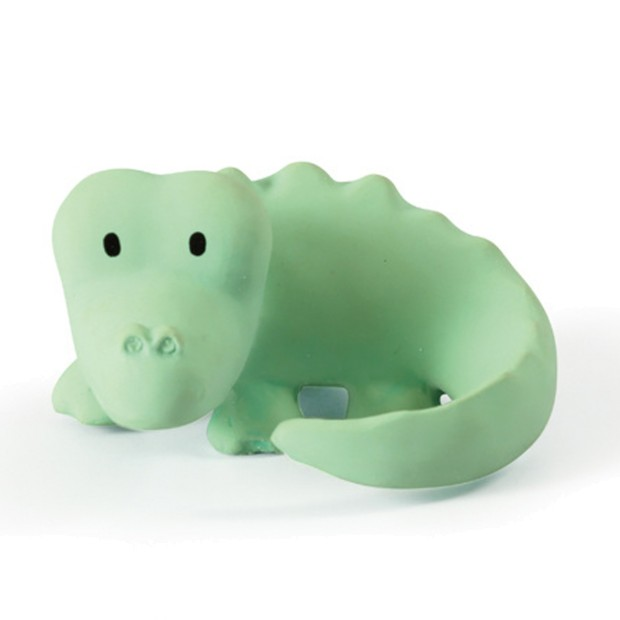 Crocodile rattle with bell in natural rubber