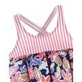 Striped buoyancy swimsuit red and flowers
