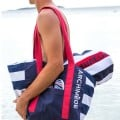 Navy And Red Bath Towel