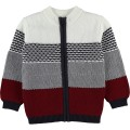 Knitted and striped tricolor cardigan