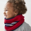 Raspberry and navy blue striped lurex tube scarf