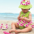 Dotty Flower Swimsuit Double Protection